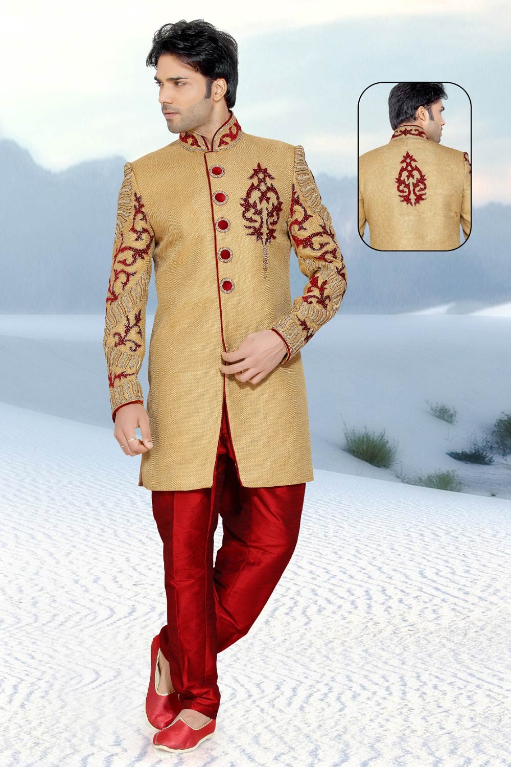 Golden & Maroon Jute Men's Indo Western