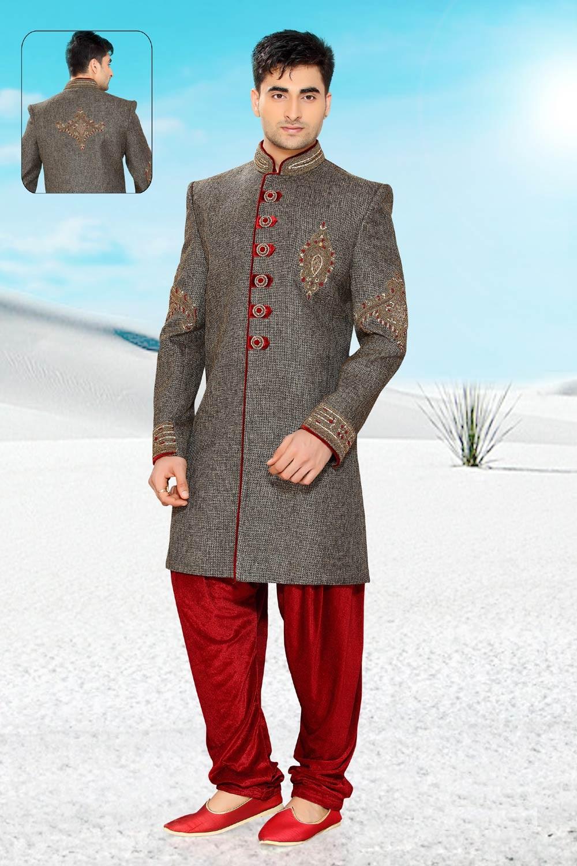 Men's Grey Jute Men's Indo Western