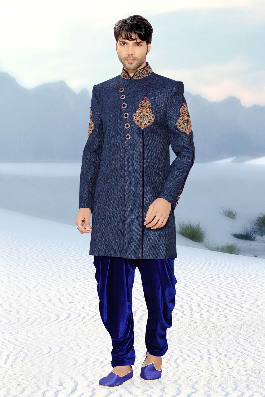 Attractive Blue Jute Men's Indo Western