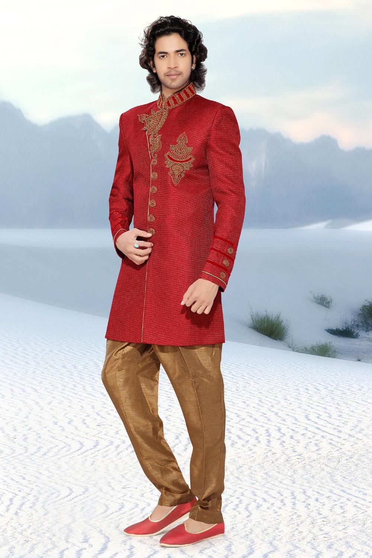 Men's Red Jute Men's Indo Western