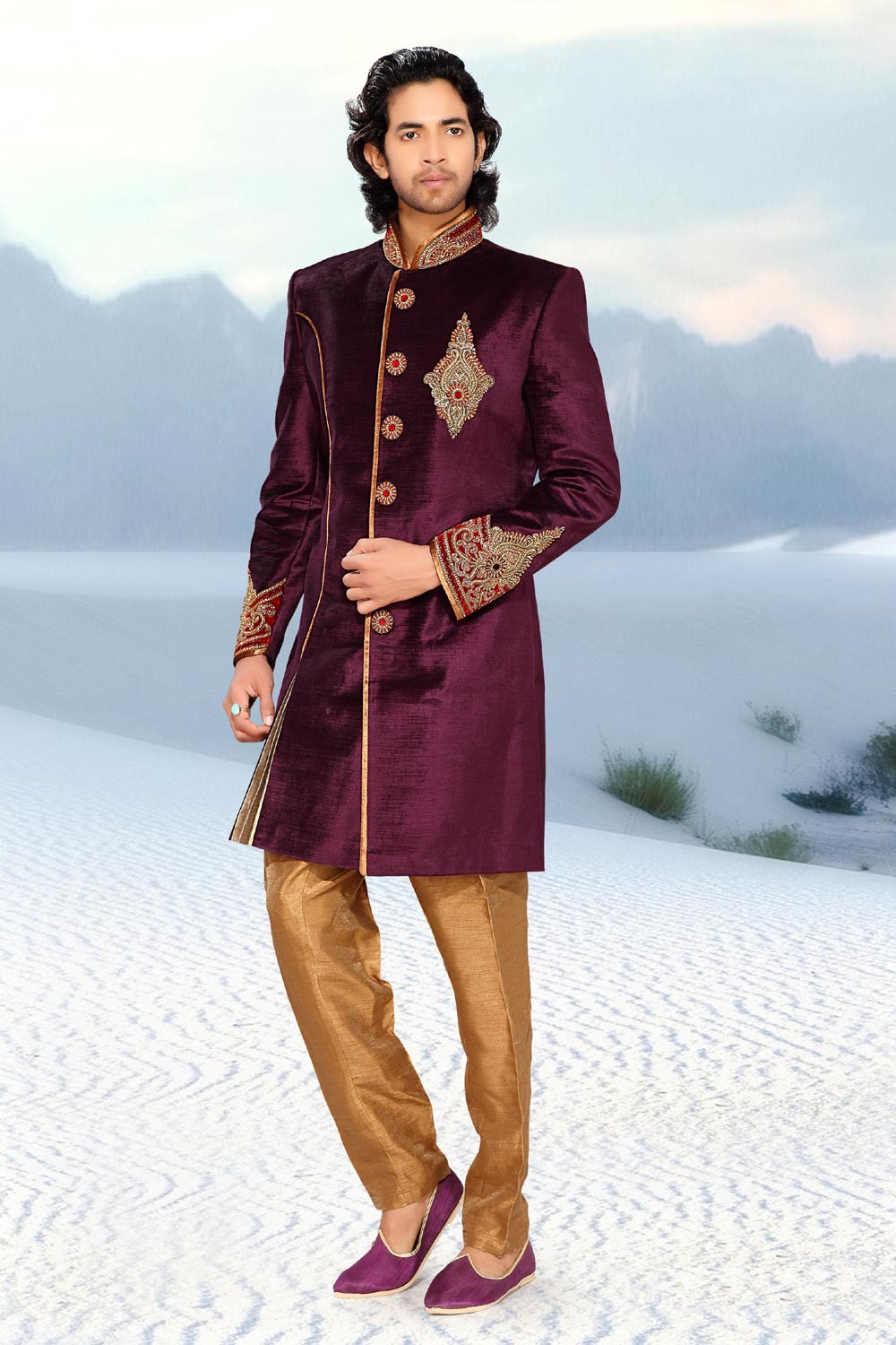 Men's Striking Purple Brocade Men's Indo Western