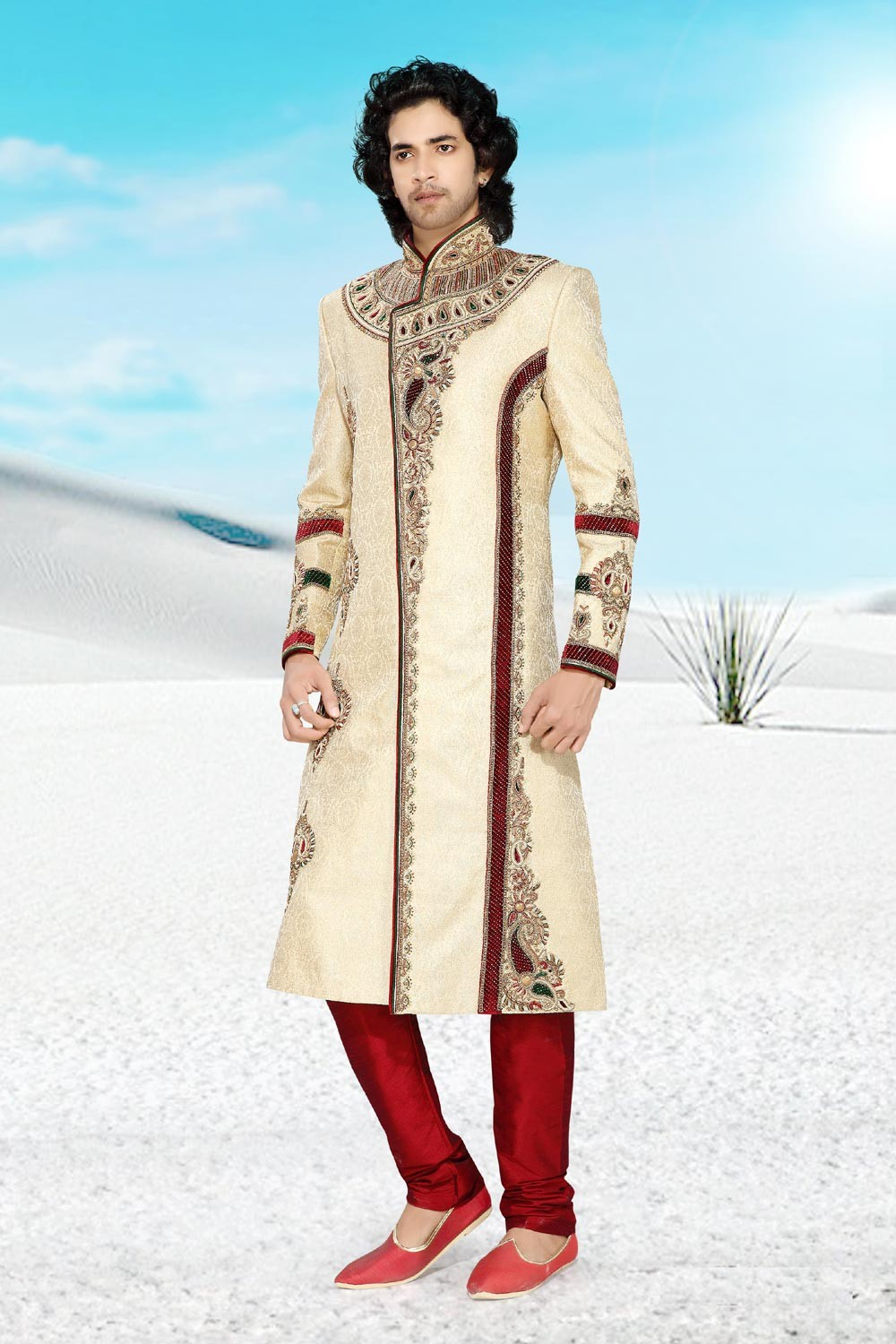 Attractive Cream & Maroon Brocade Men's Sherwani