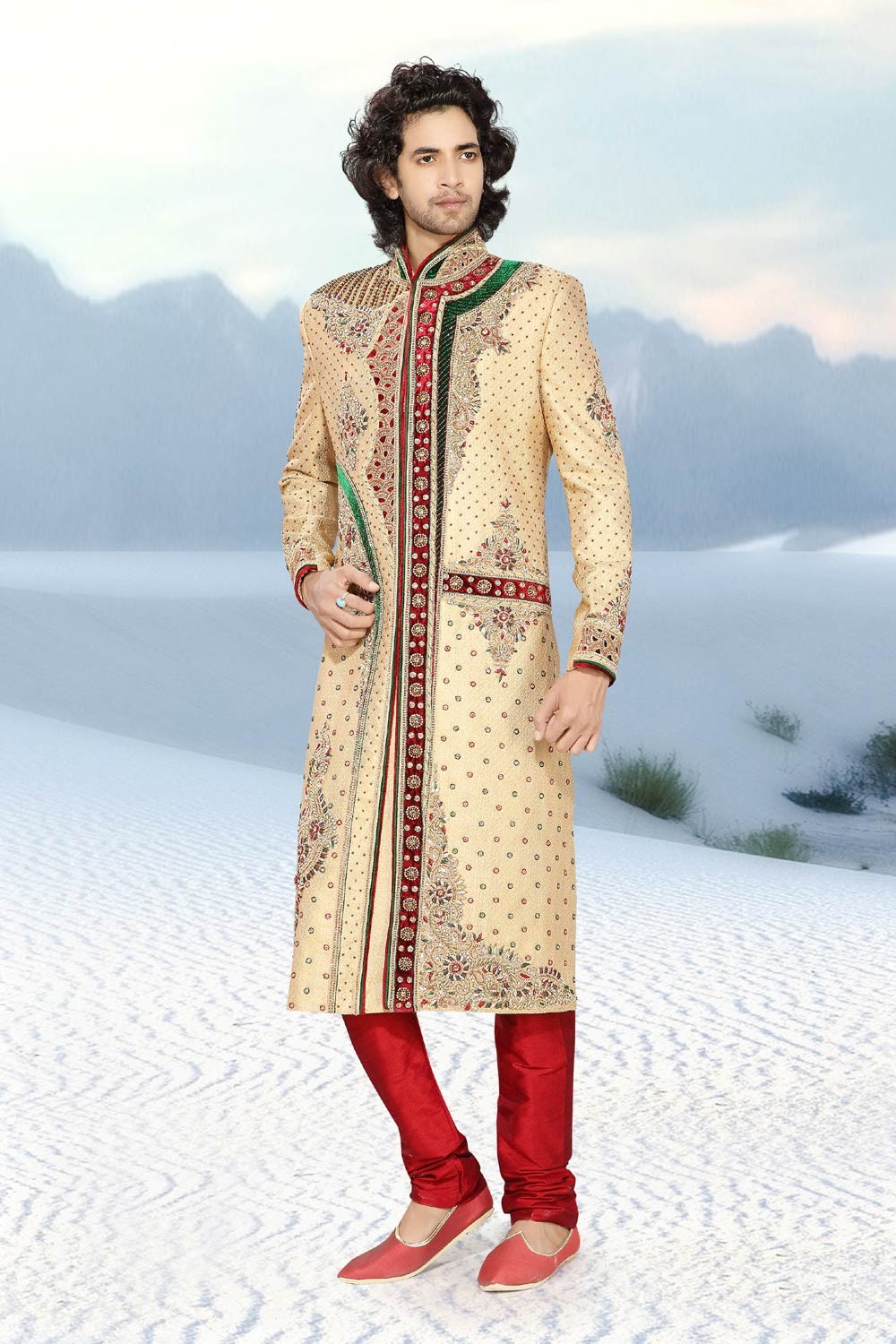 Men's Golden Jamawar Men's Sherwani