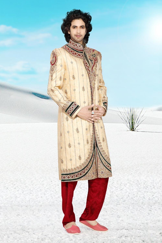 Men's Appealing Golden Jamawar Men's Sherwani