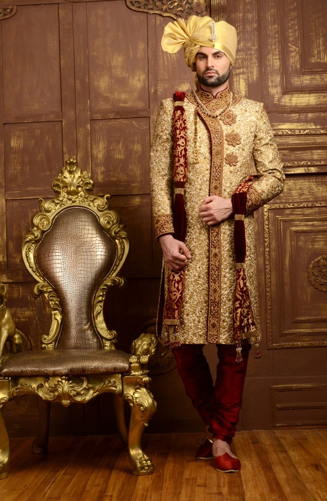 BEIGE COLOUR LUSTROUS WEDDING SHERWANI