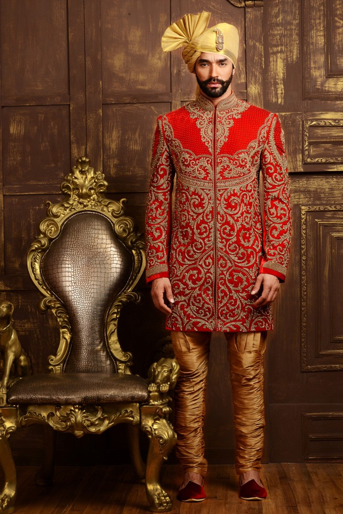 RED COLOUR DASHING GROOM INDOWESTERN