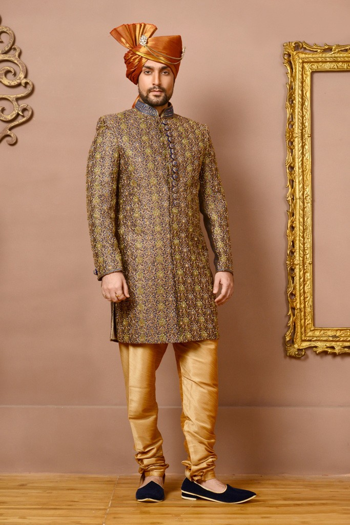 BLUE,GOLD COLOUR ROYAL PATIALLA INDOWESTERN