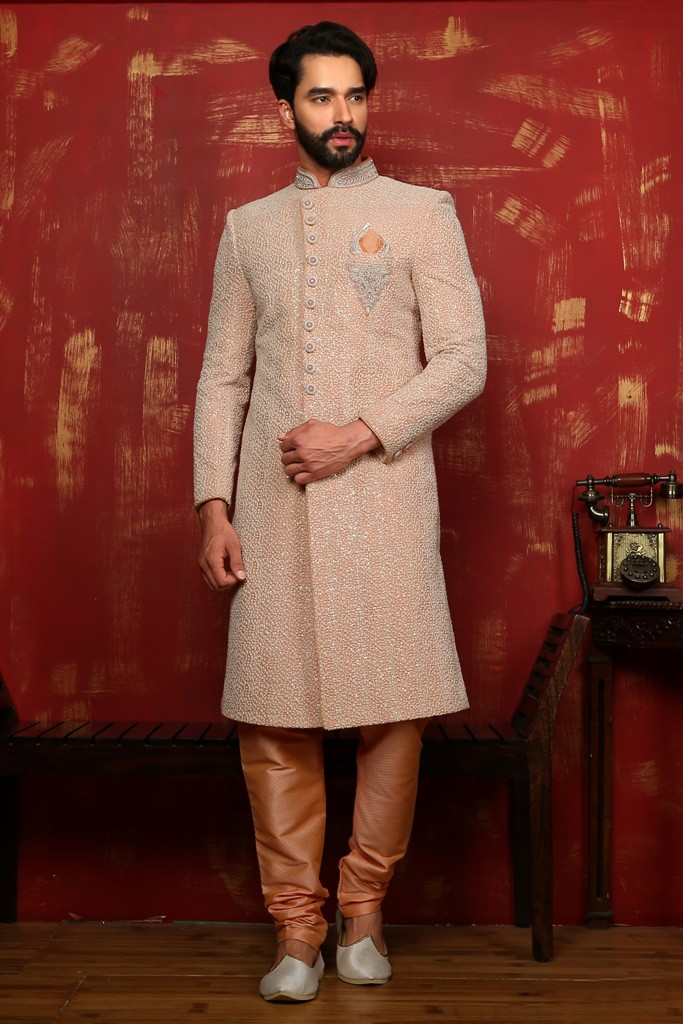 PEACH COLOUR EXCLUSIVE LOOK SHERWANI