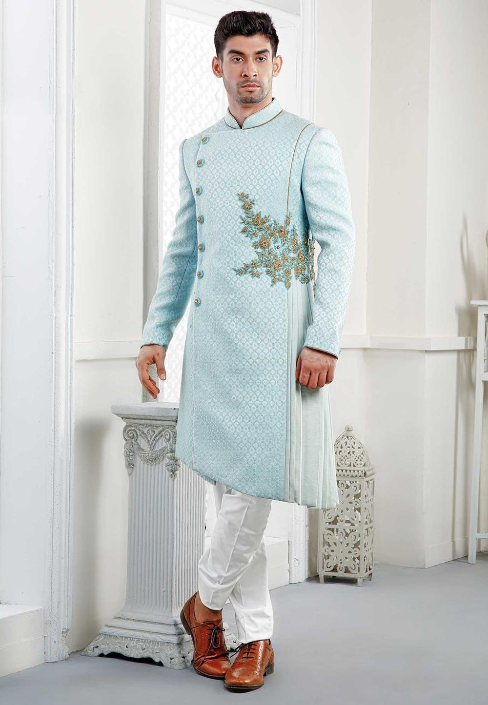 Buy exclusive designer sherwani in Sky Blue
