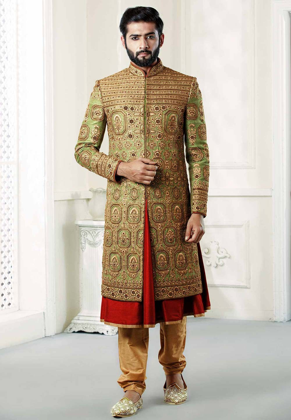 Buy designer sherwani in Green Colour