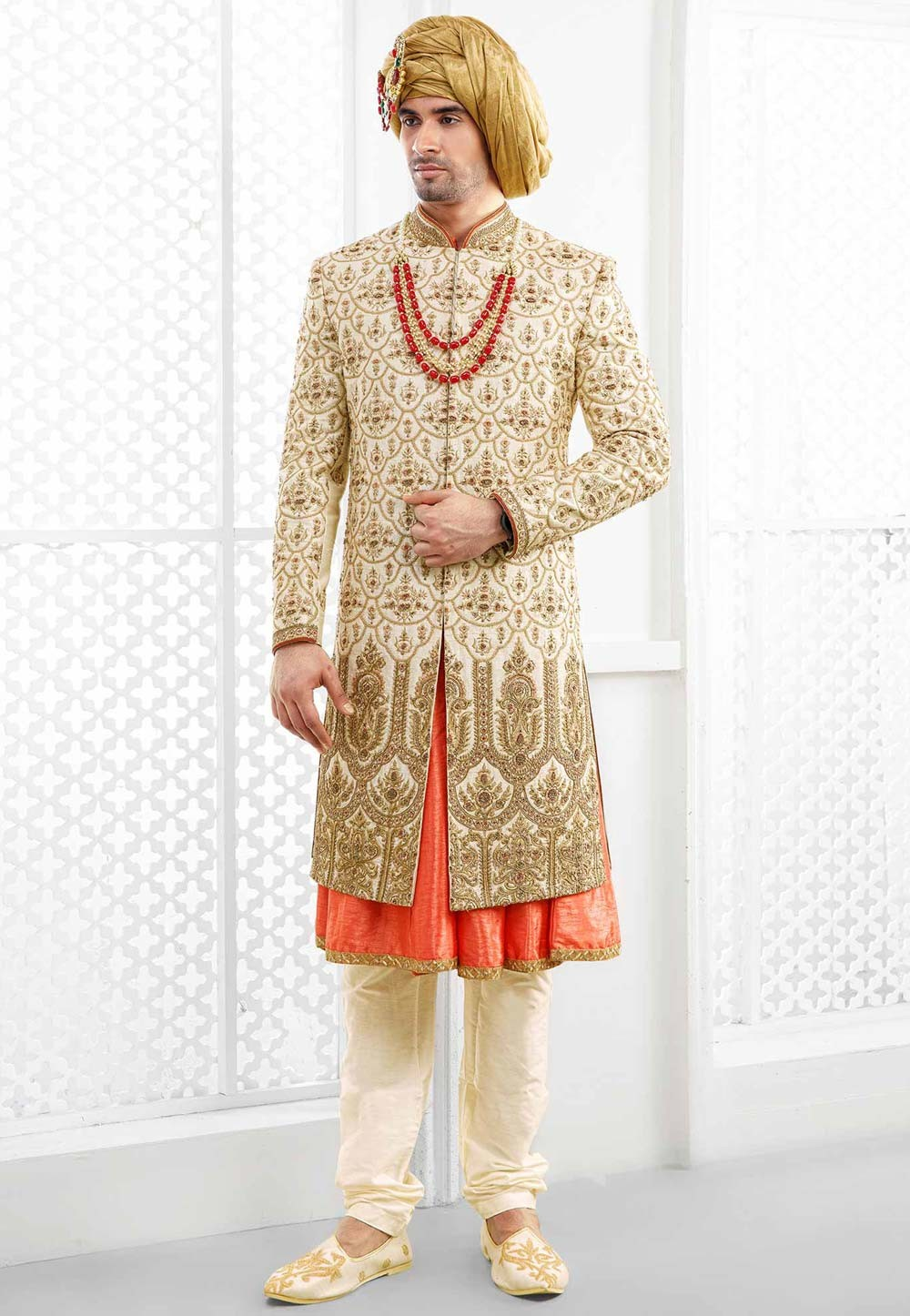 Buy designer sherwani in Cream colour For Men