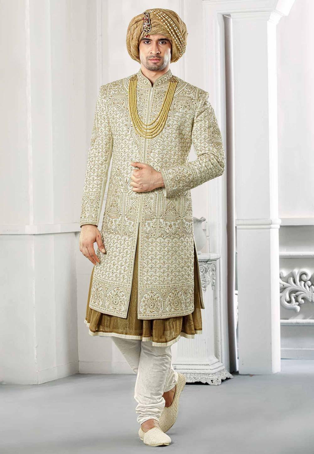 Buy designer hard work sherwani for groom