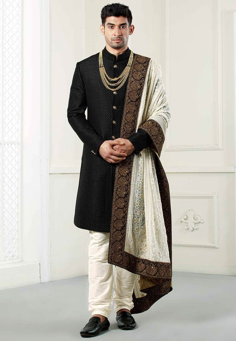 Buy designer Quilted sherwani in Black colour