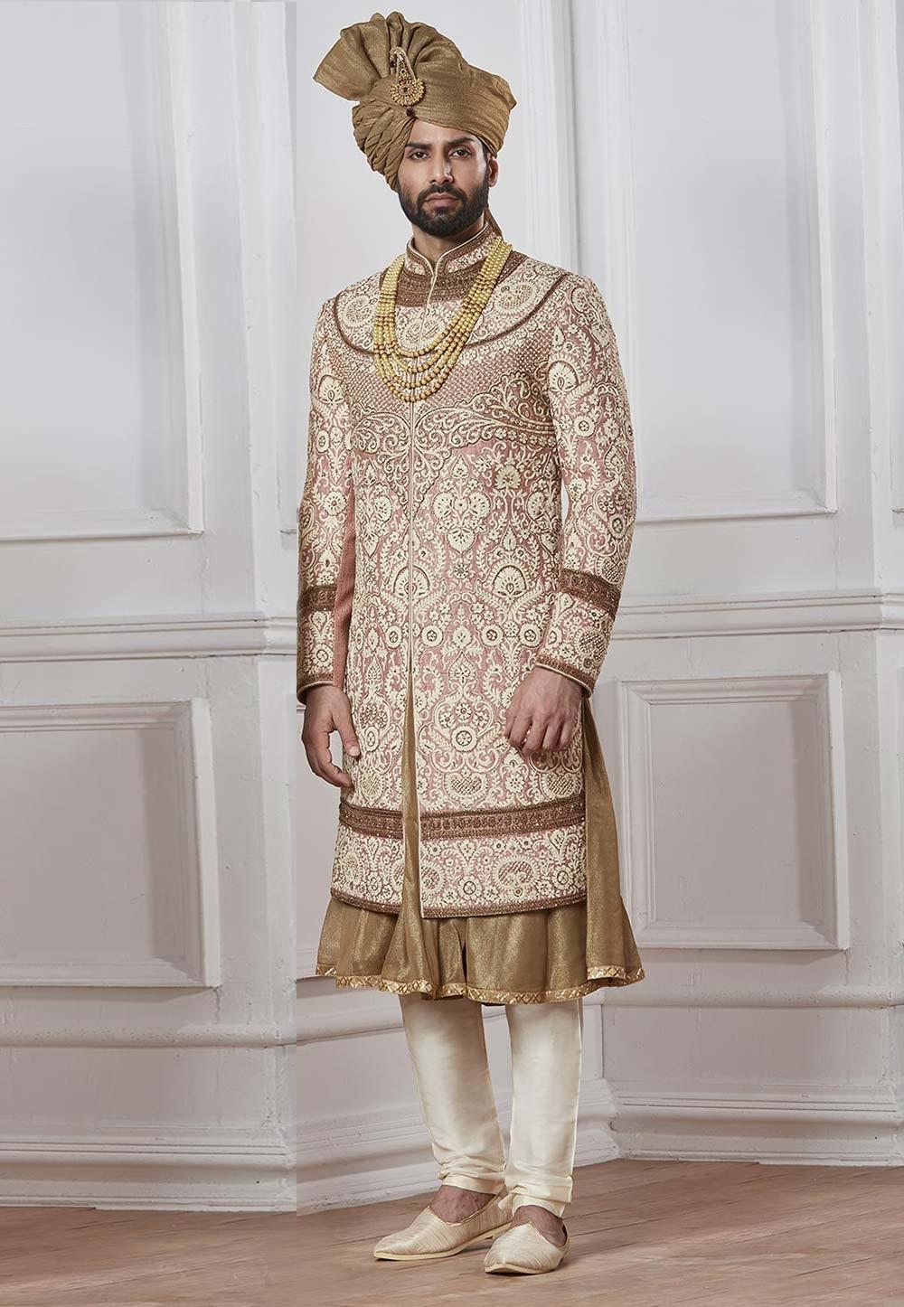 Buy latest designer sherwani in golden colour for groom