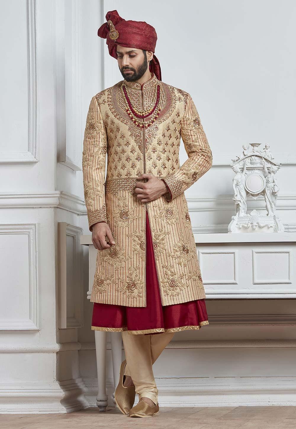 Buy Golden,Maroon Color Wedding Sherwani for men