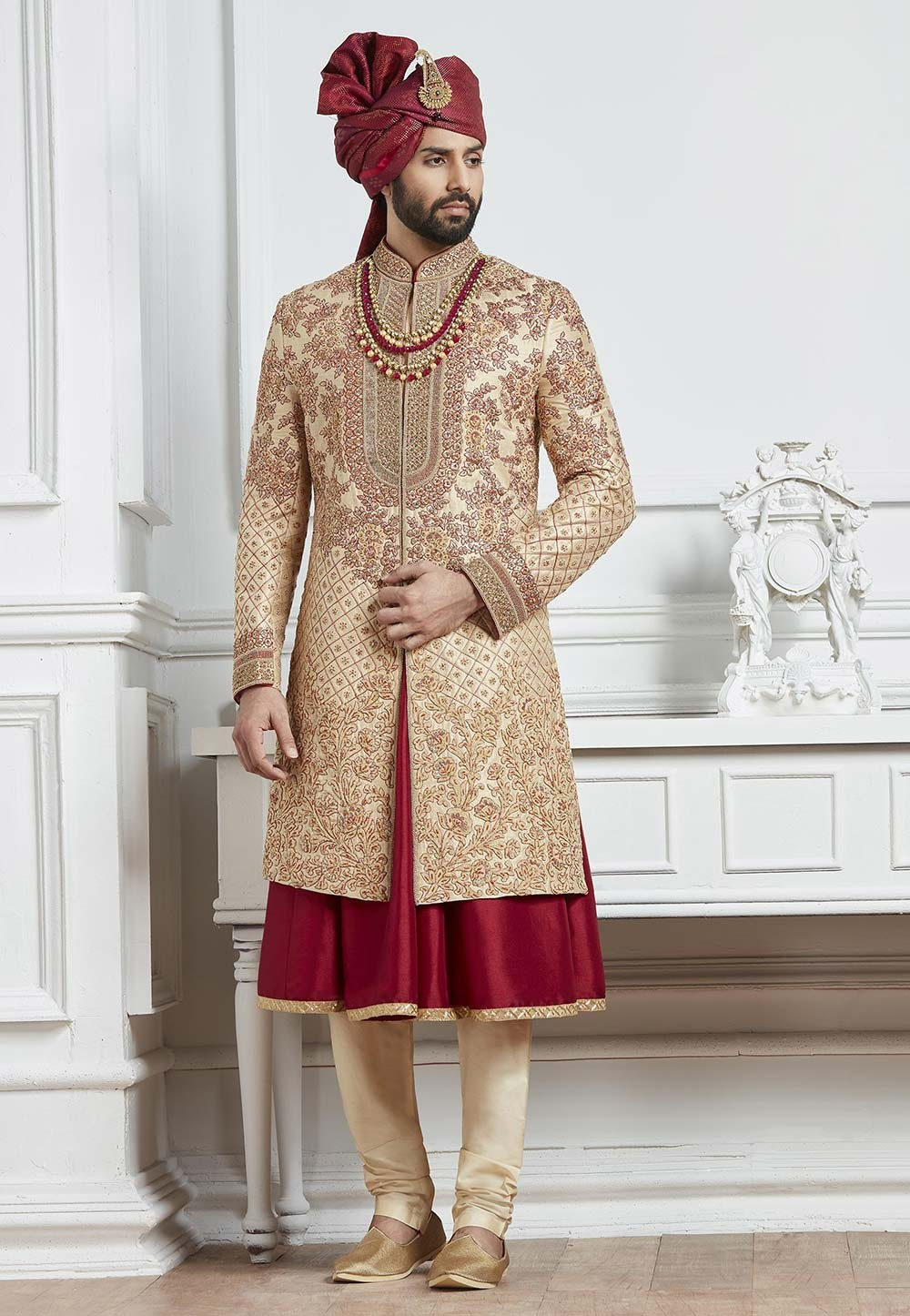 Buy Golden,Maroon Color Indian Wedding Sherwani for men