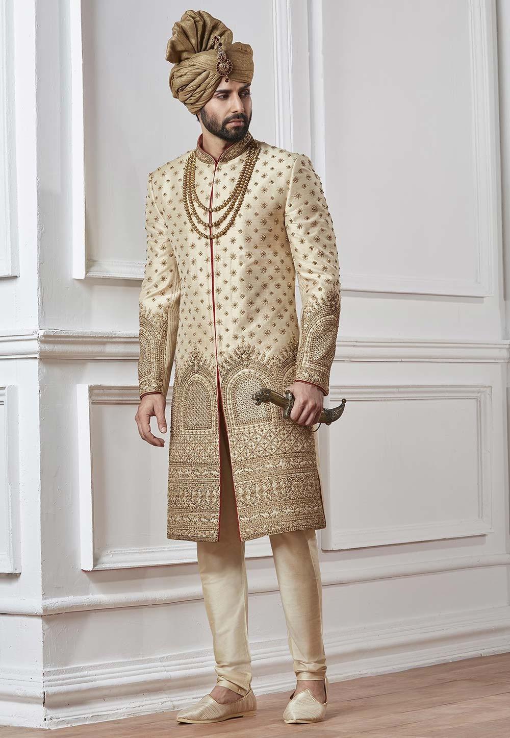 Buy desinger sherwani in Cream,Golden Color Indian style
