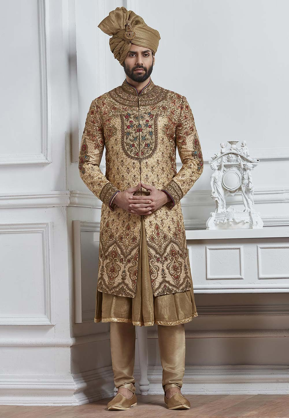 Buy sherwani online in Golden Color for Wedding
