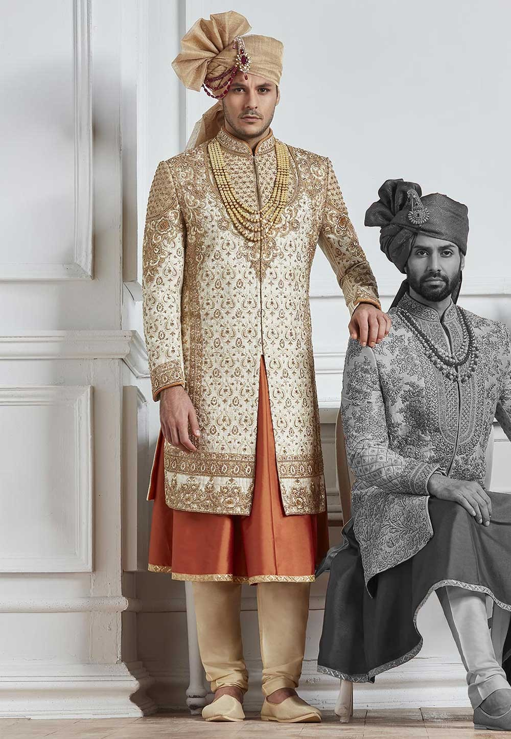 Buy sherwani online in Cream,Golden Color Design