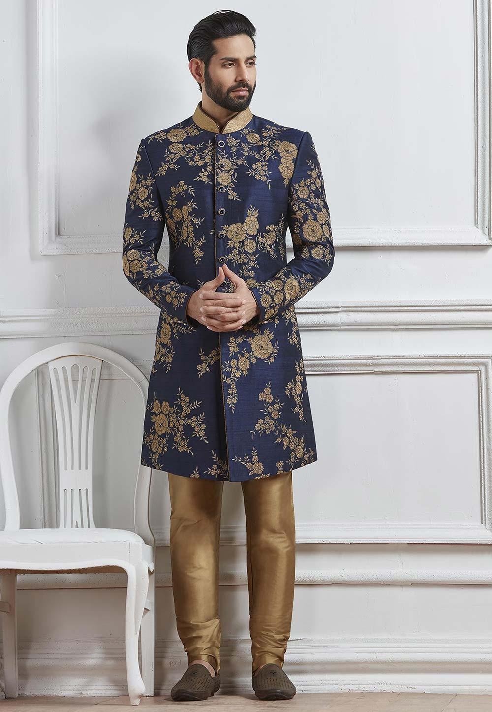 Blue Color Designer Indo western suits for mens