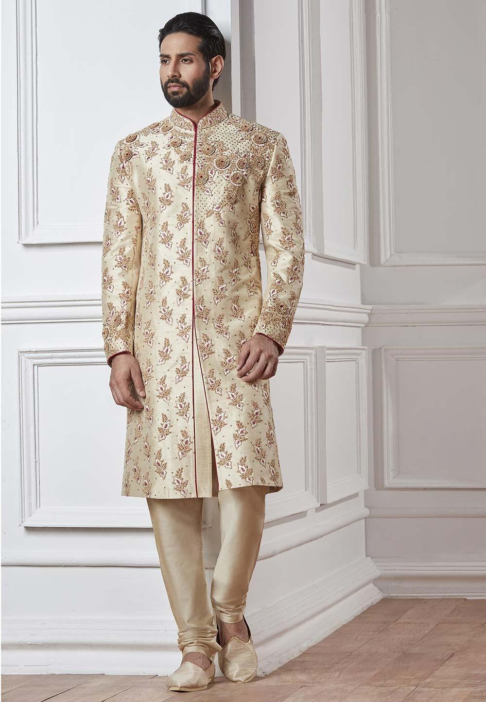 Buy designer cream colour sherwani in silk fabric