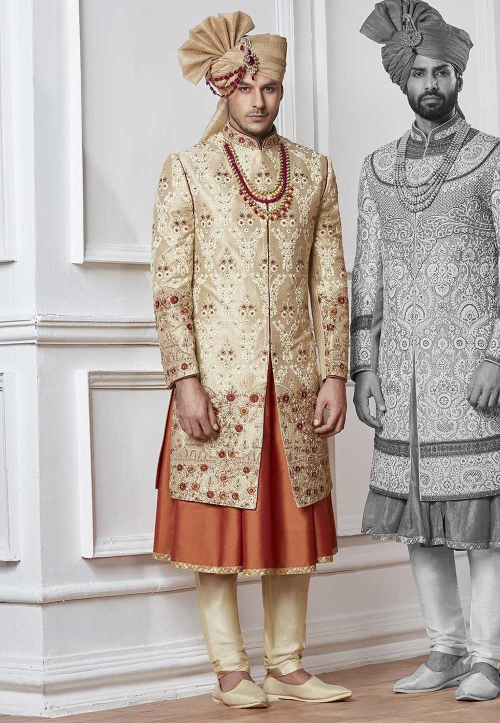 Buy designer sherwani Golden,Cream Color for Indian Wedding