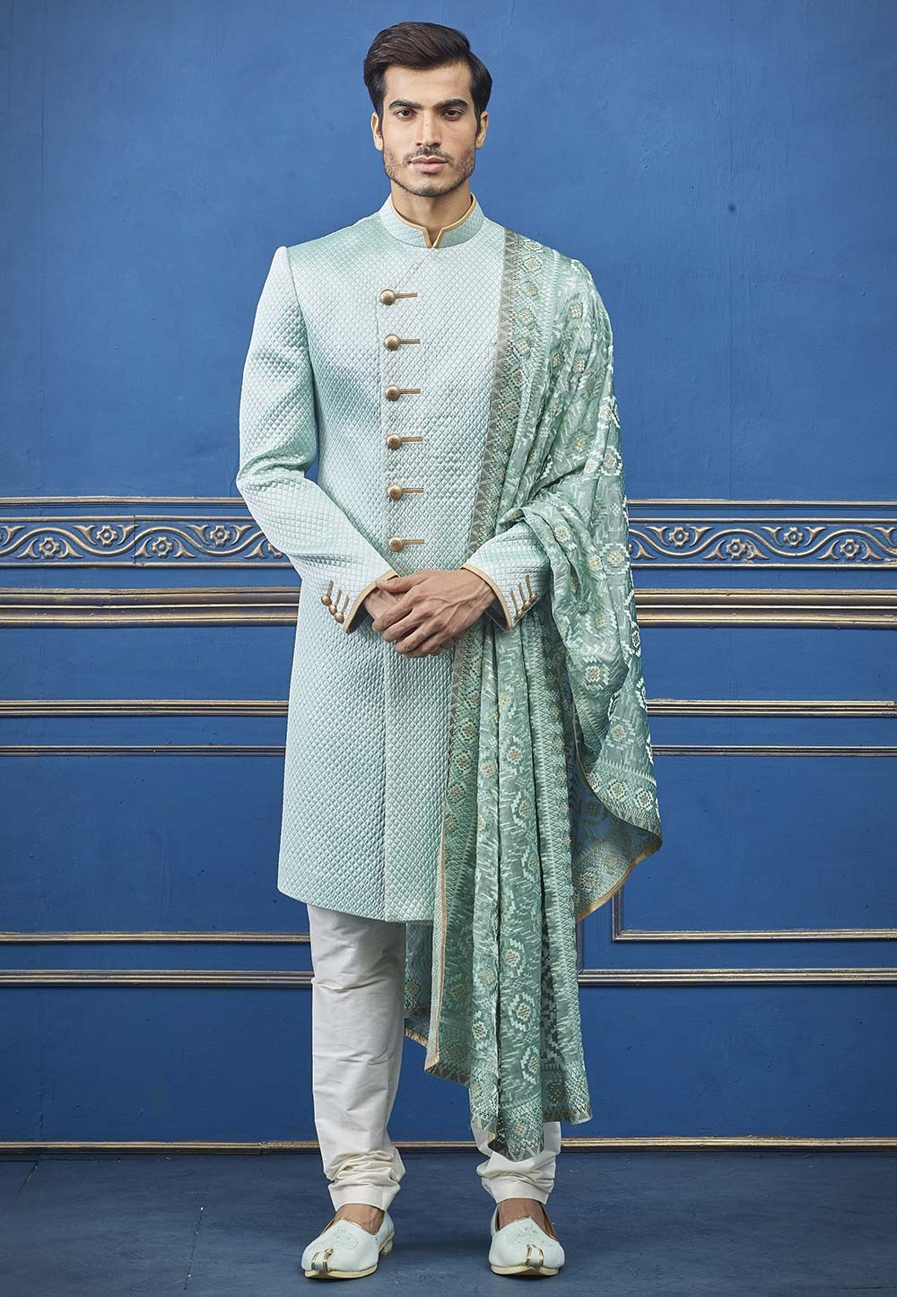 Teal Blue Colour Quilted Men's Indowestern.