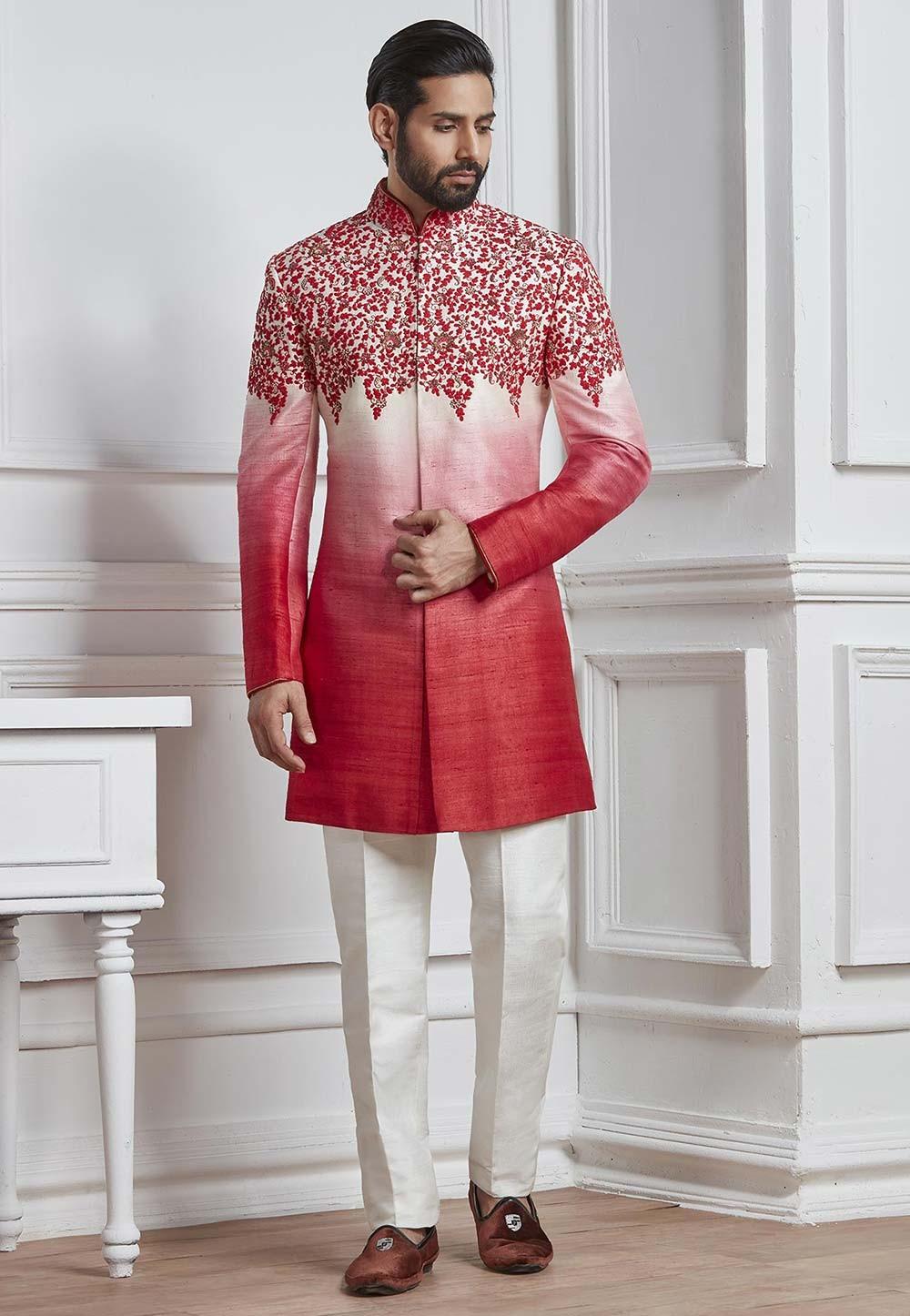 Red Color Silk Men's Indowestern.