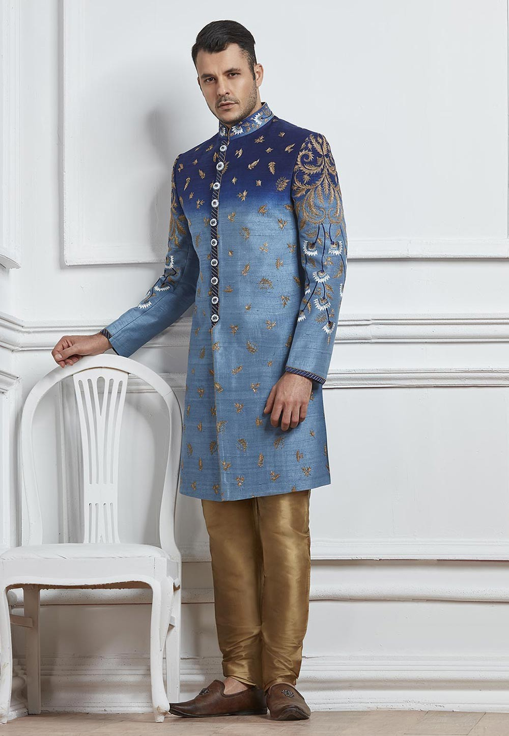 Blue Color Designer Indo western suits for mens