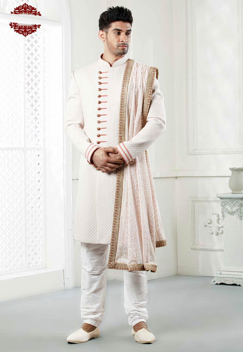 Buy designer sherwani in cream colour