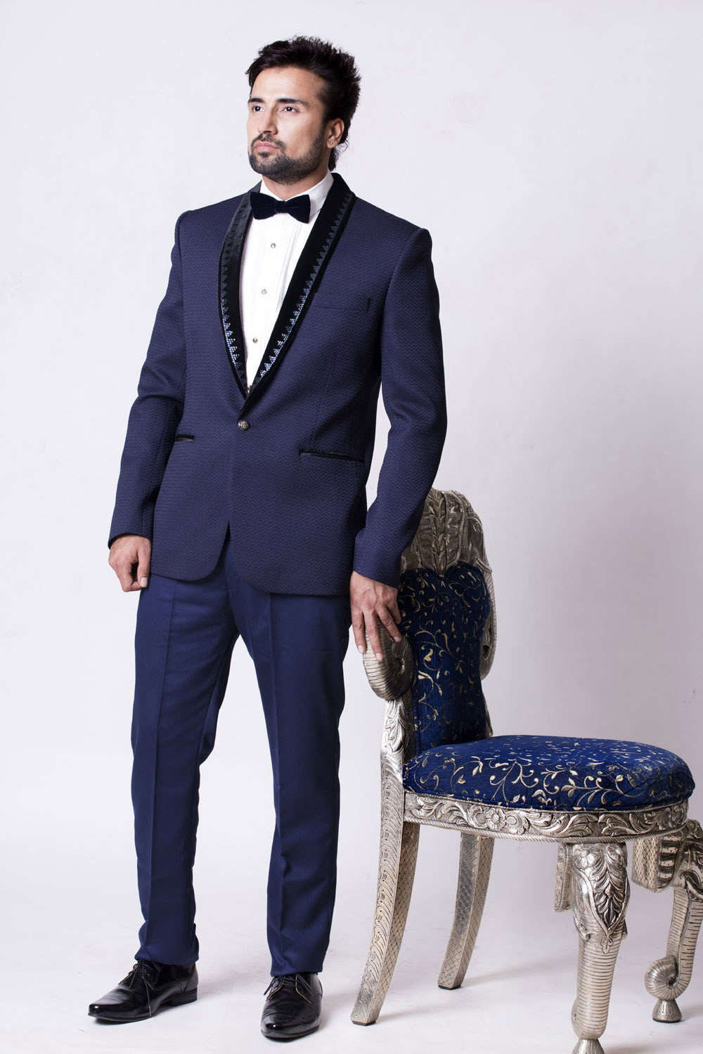 Buy elegant blue color designer Mens tuxedo suit online