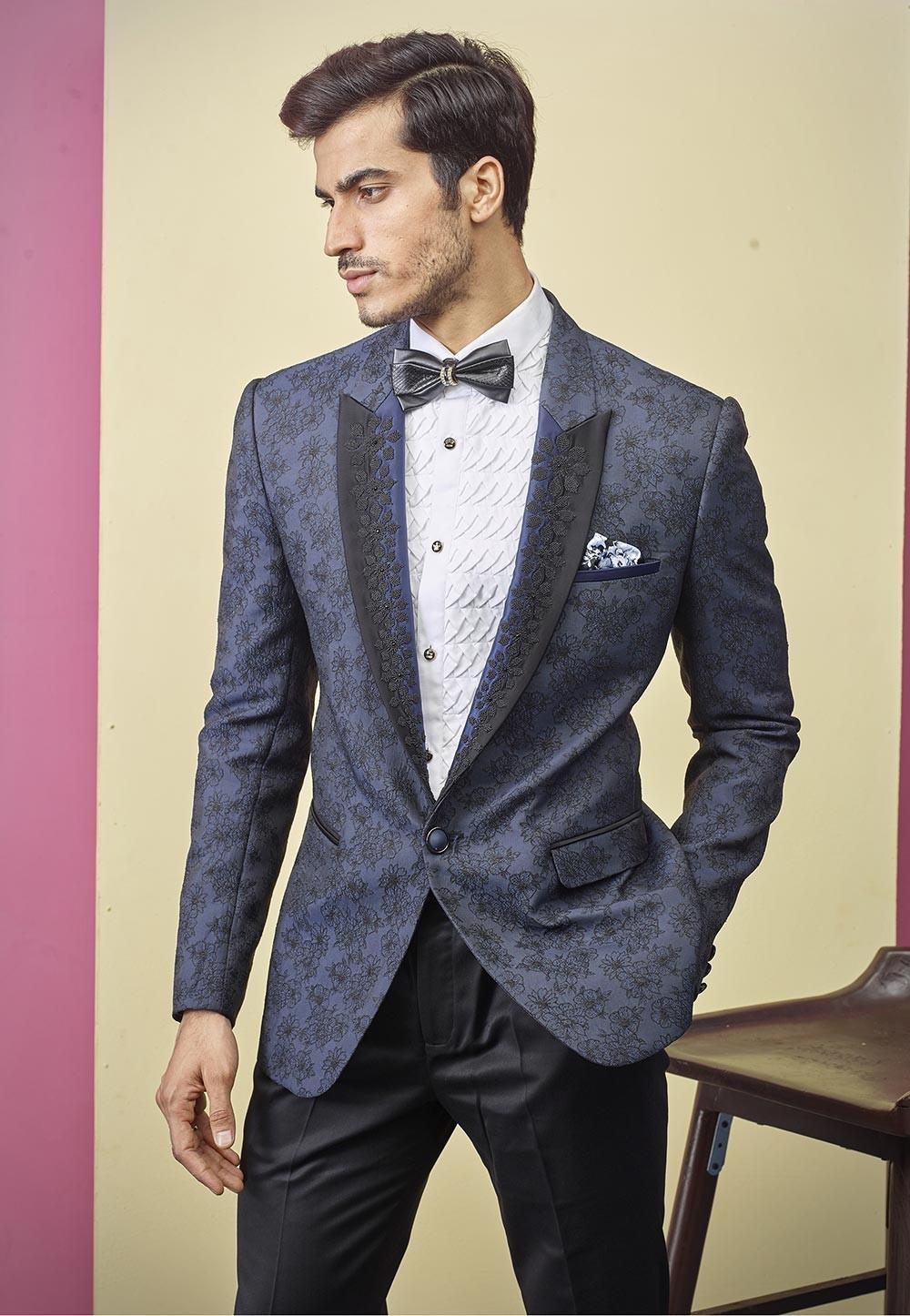 Indian Designer Tuxedo Suit Blue Colour.