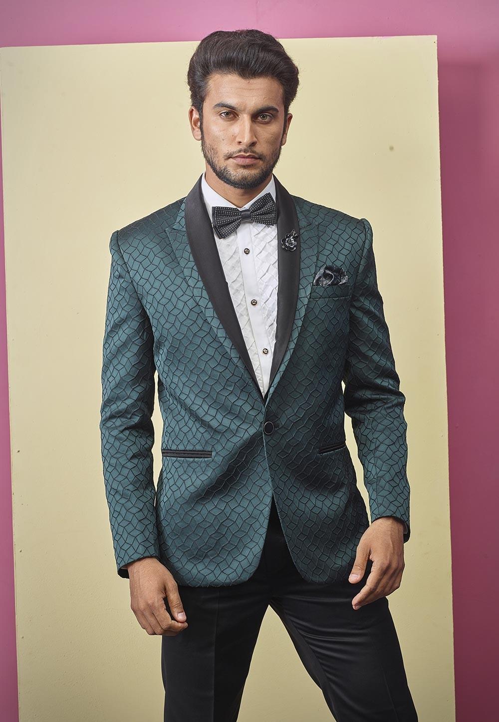 Textured Designer Tuxedo Suit Green Colour.