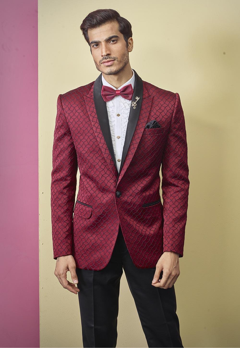 Textured Designer Tuxedo Suit Maroon Colour.