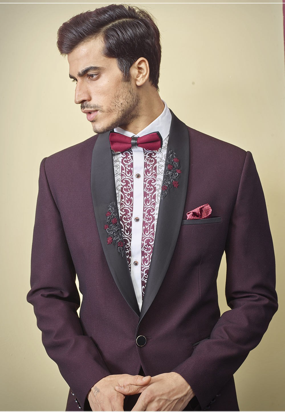 Wine Colour Indian Wedding Suit.