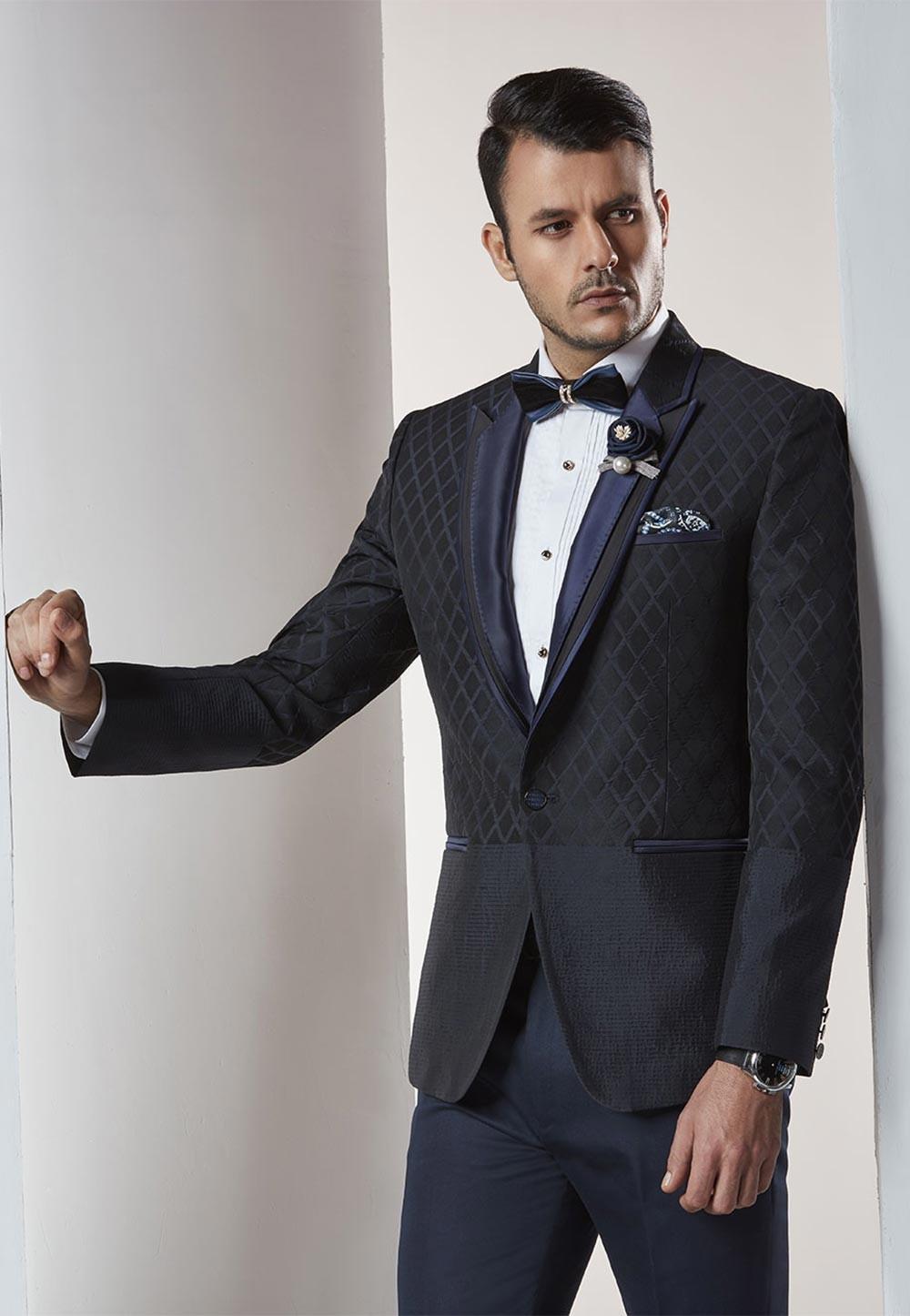 Black,Blue Color Designer Wedding Suit.