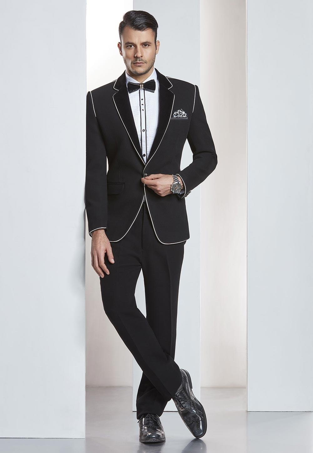 Black Color Designer Tuxedo Suit.