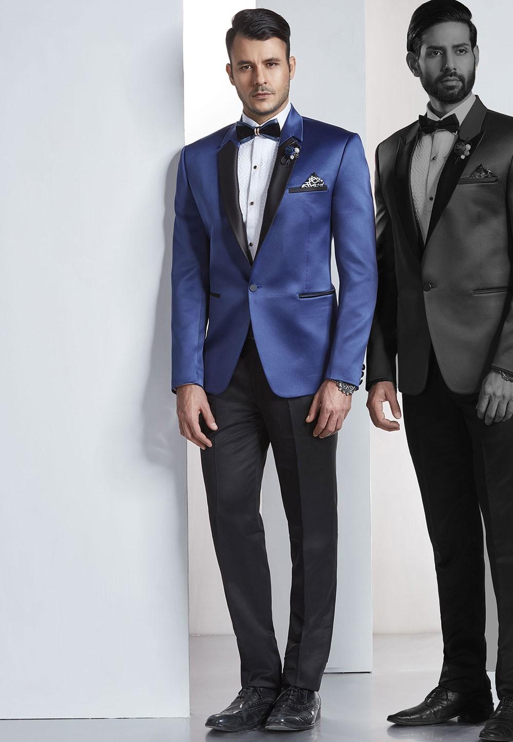 Buy online blue Mens tuxedo Desinger wedding suits for groom
