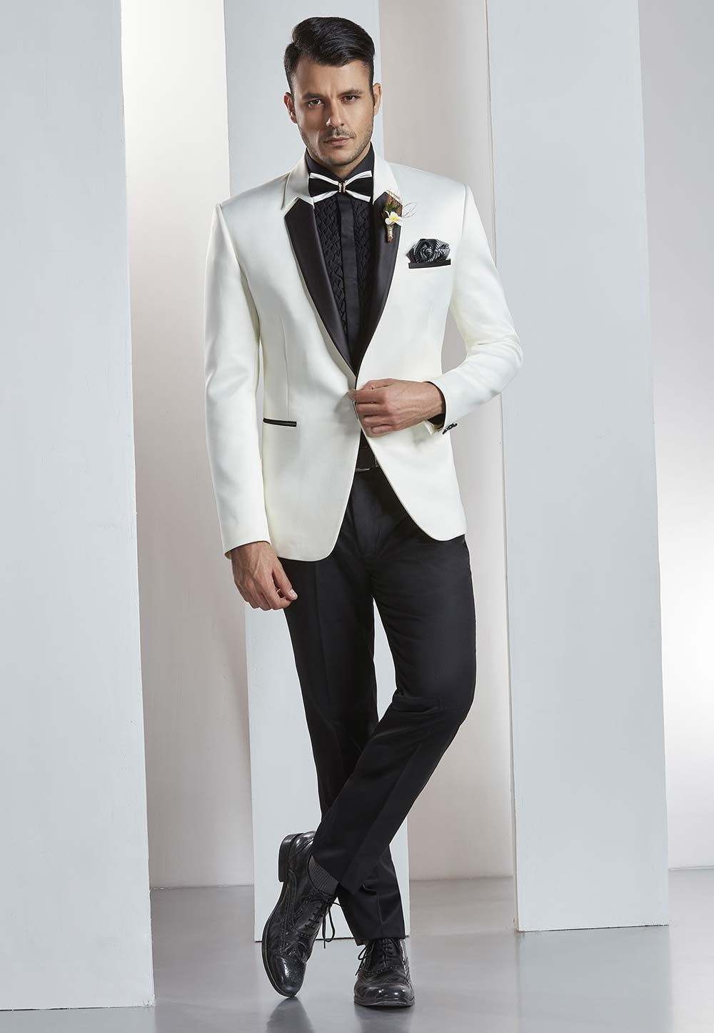 Designer party wear suit and wedding suits in White color