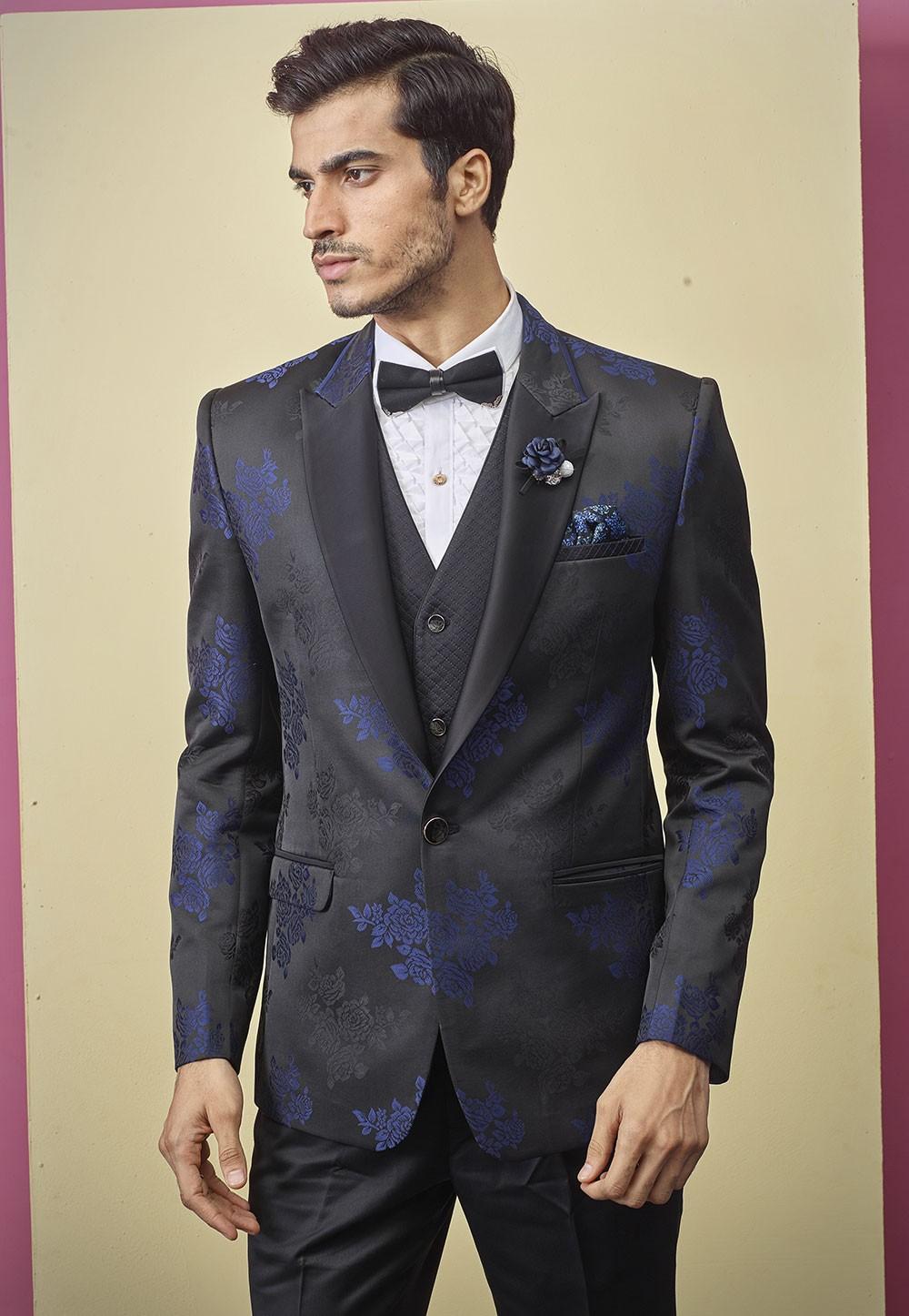 Black Colour Flower Printed Designer Suit.