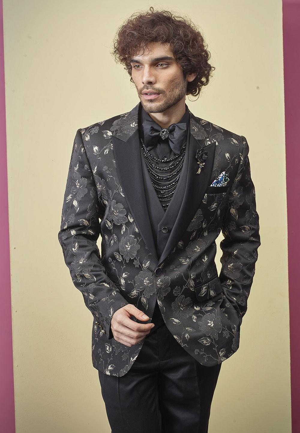 Black Colour Flower Design Tuxedo Suit.