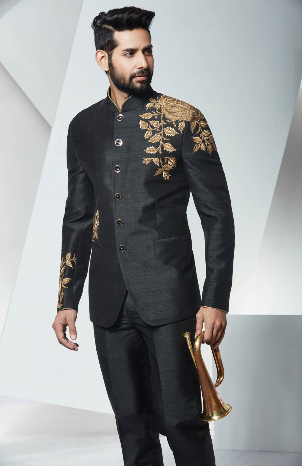 Best Wedding Suits for Men in Graceful Black Jodhpuri Suit