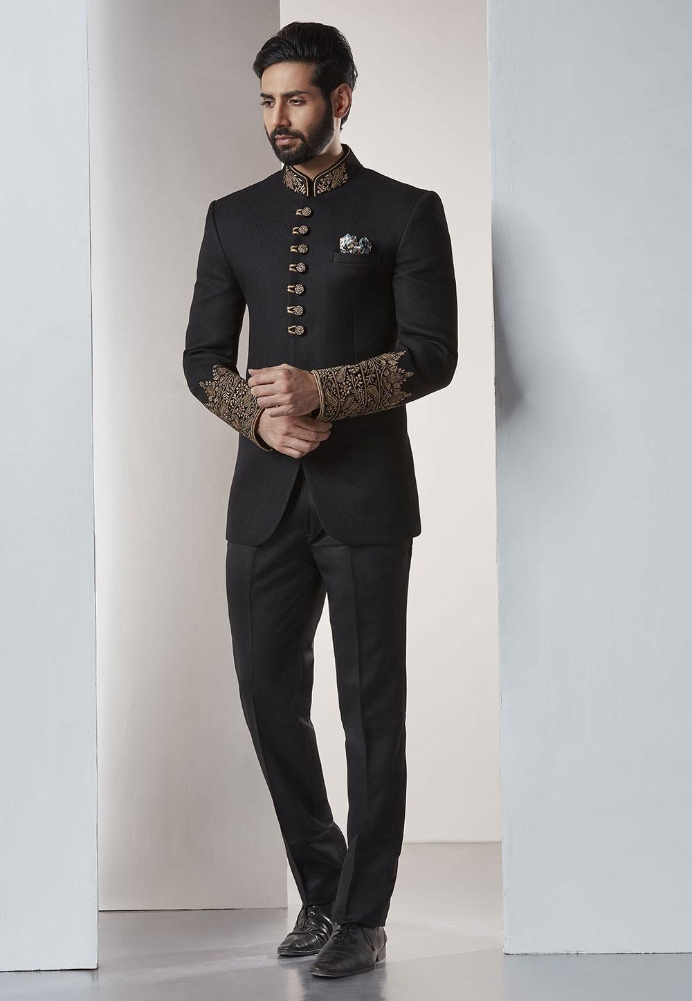 Buy designer elegant suits for men in black color