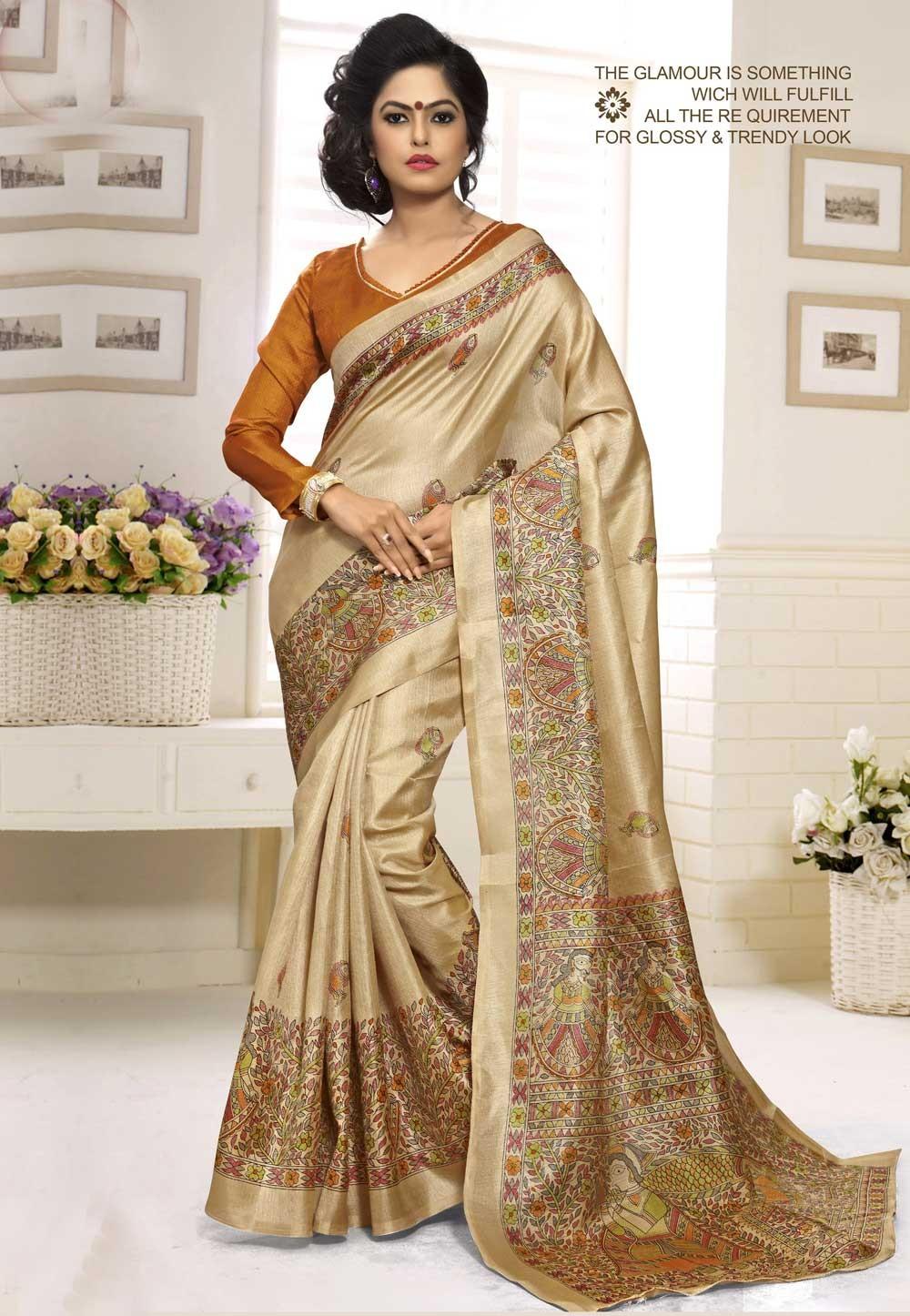 Classic Looking Khadi Silk & Cream Color Women's Ethnic Saree