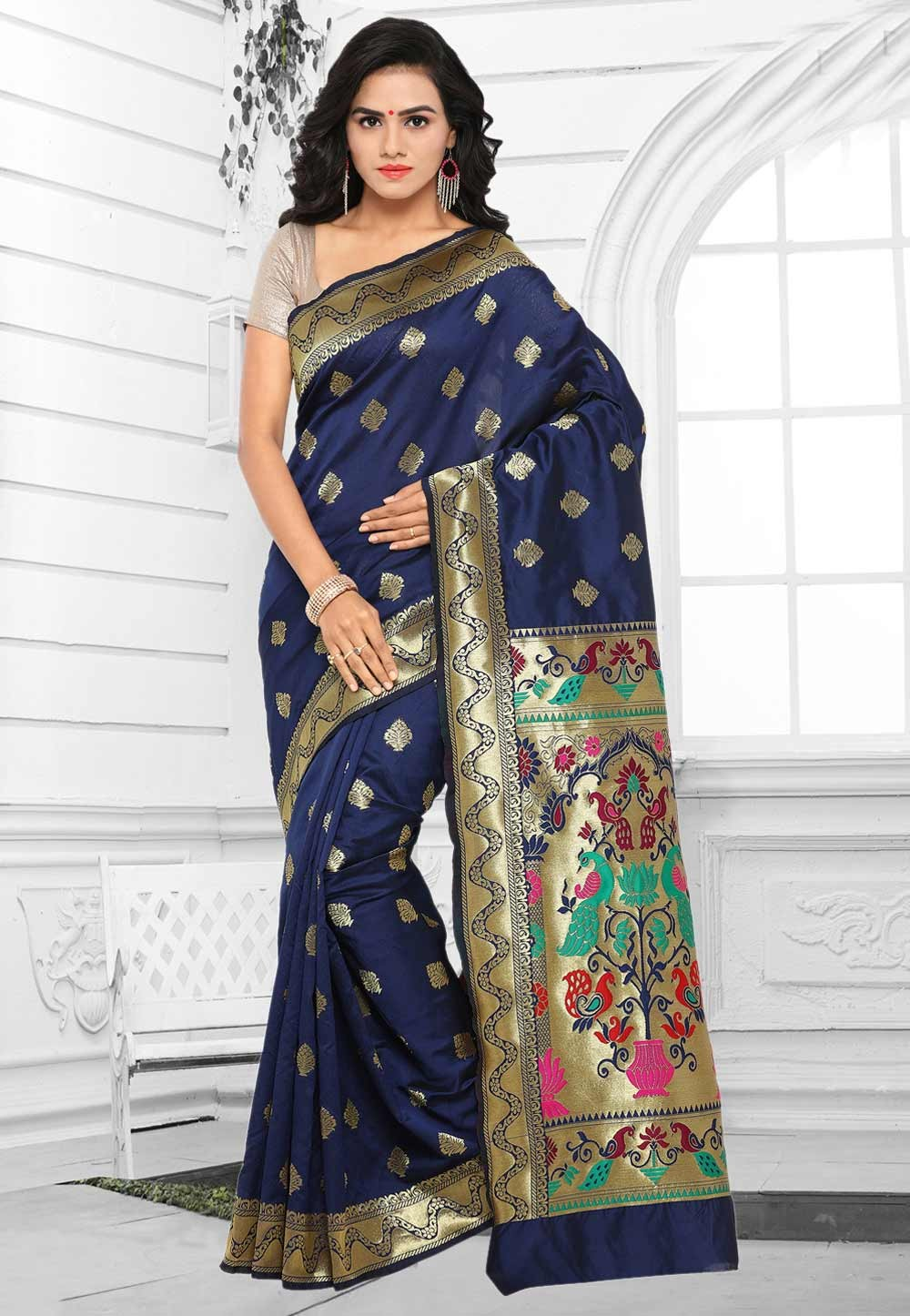 Women's Classic Looking Cotton Silk & Blue Color Saree
