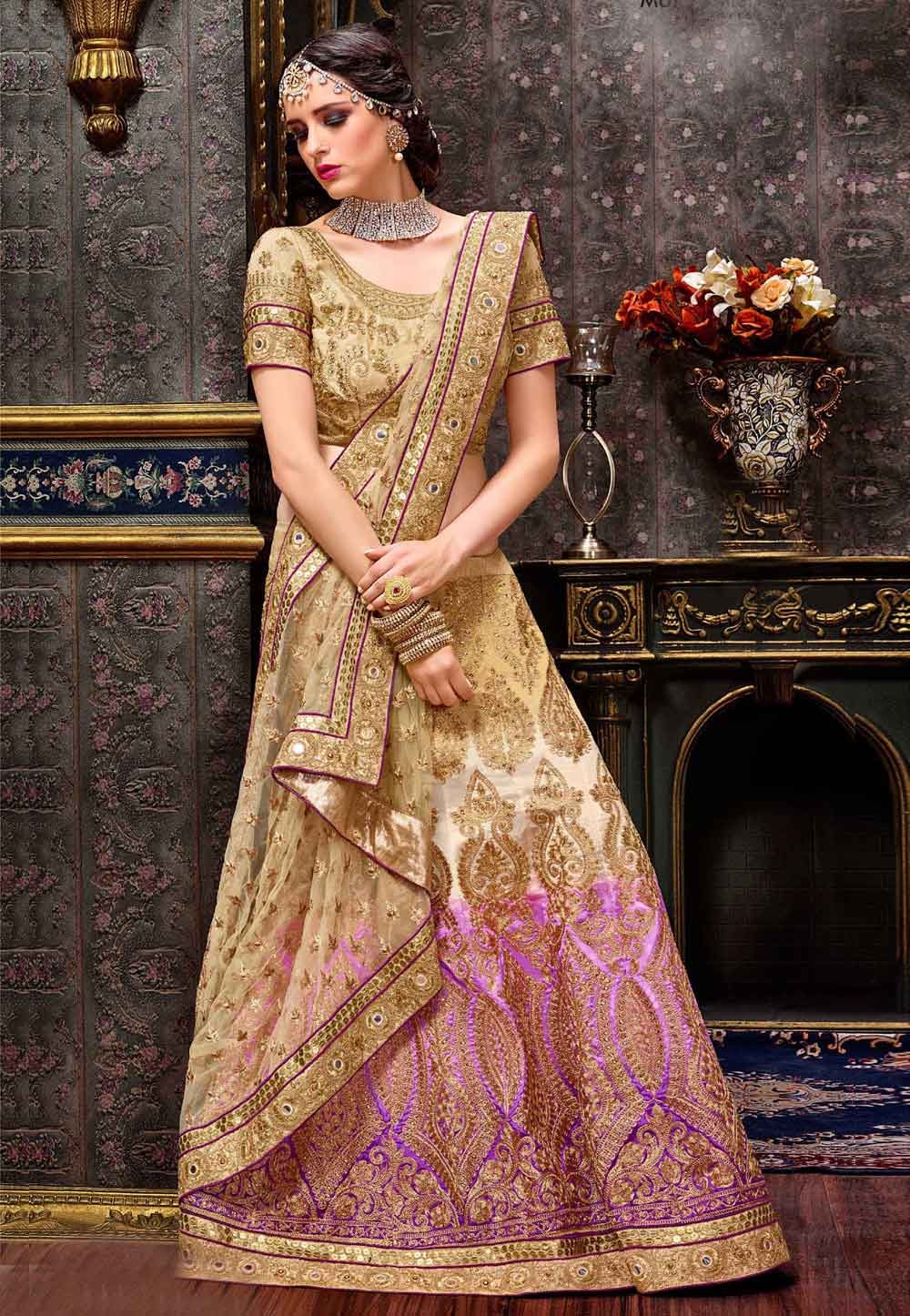 Women's Pretty A Line Lehenga Style in Gold,Purple Color With Embroidery Work