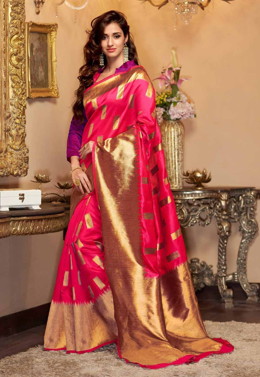 Pink Color Saree With Striking Fancy Pallu