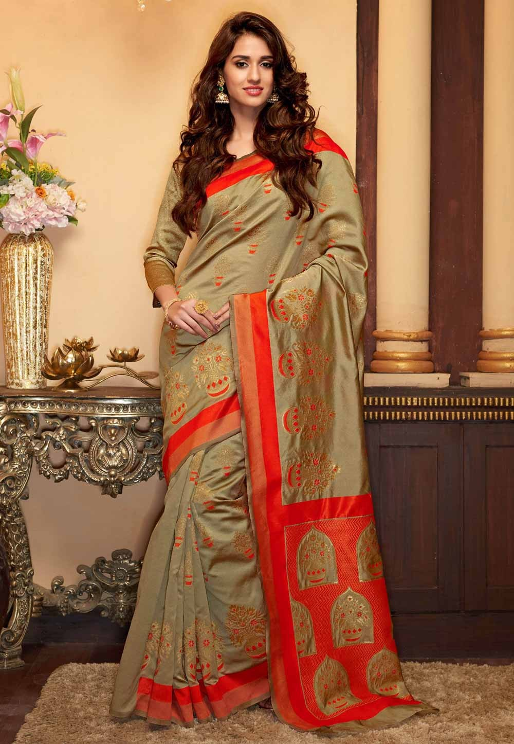 Ethnic Cotton,Silk & Beige Color Saree For Women