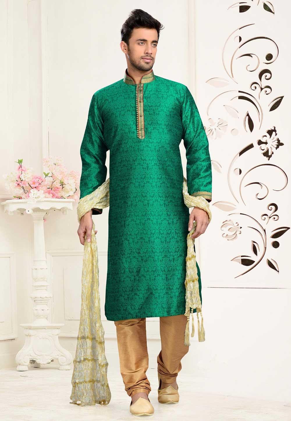 Men's Jacquard,Art Silk Green Color Readymade Kurta Pajama