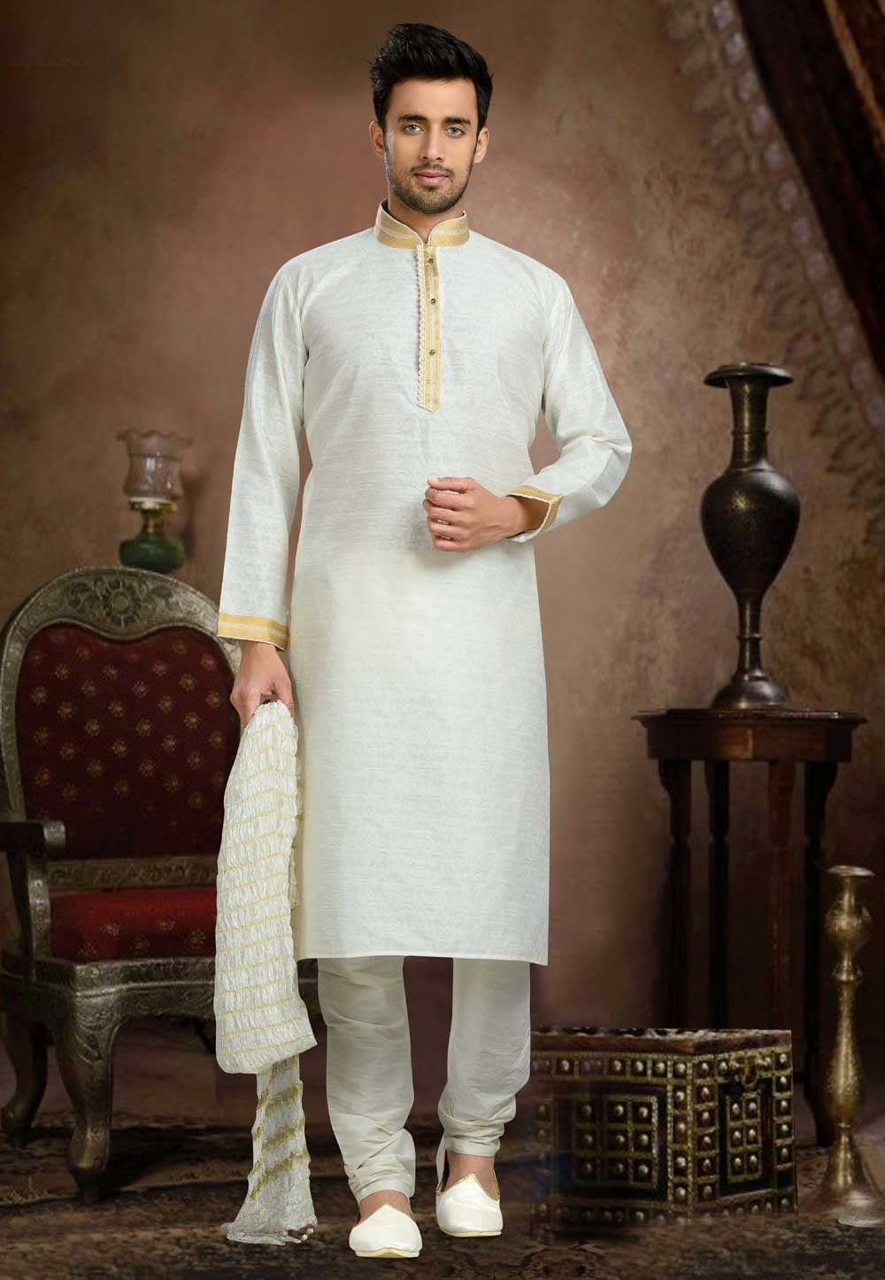 Men's Jacquard,Art Silk Cream Color Readymade Kurta Pyjama
